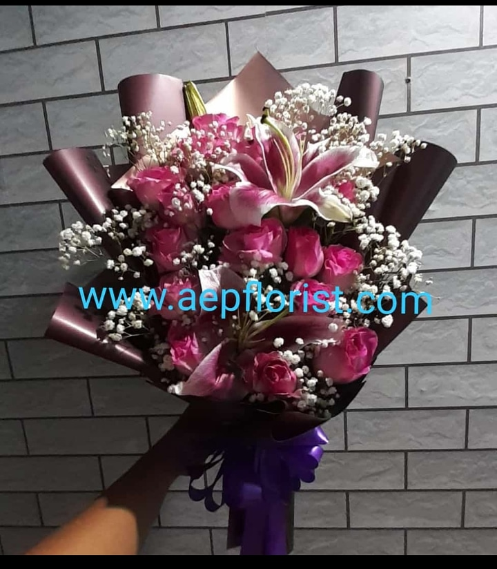 bouquet rose n lily